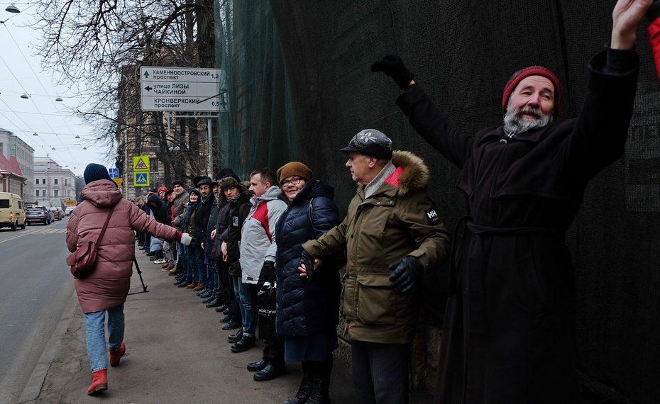 акция градозащиты у Дома Басевича